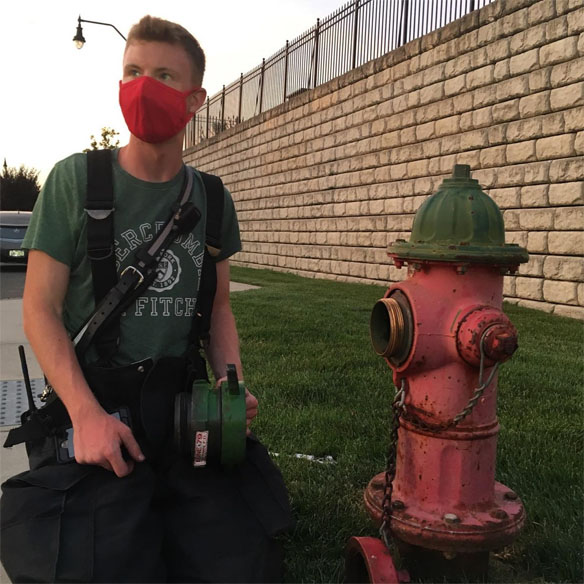 Firefighter and hydrant work